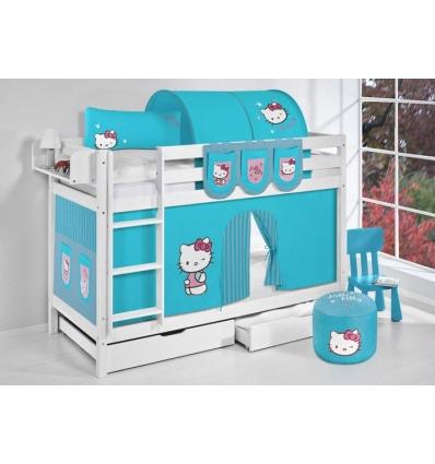 Rideaux hello kitty lit surlev ludique jelle x cm hello kitty rose lilokids blanc laqu avec - Rideau lit superpose ...