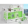 Lit superposé avec tiroirs en bois pirate vert