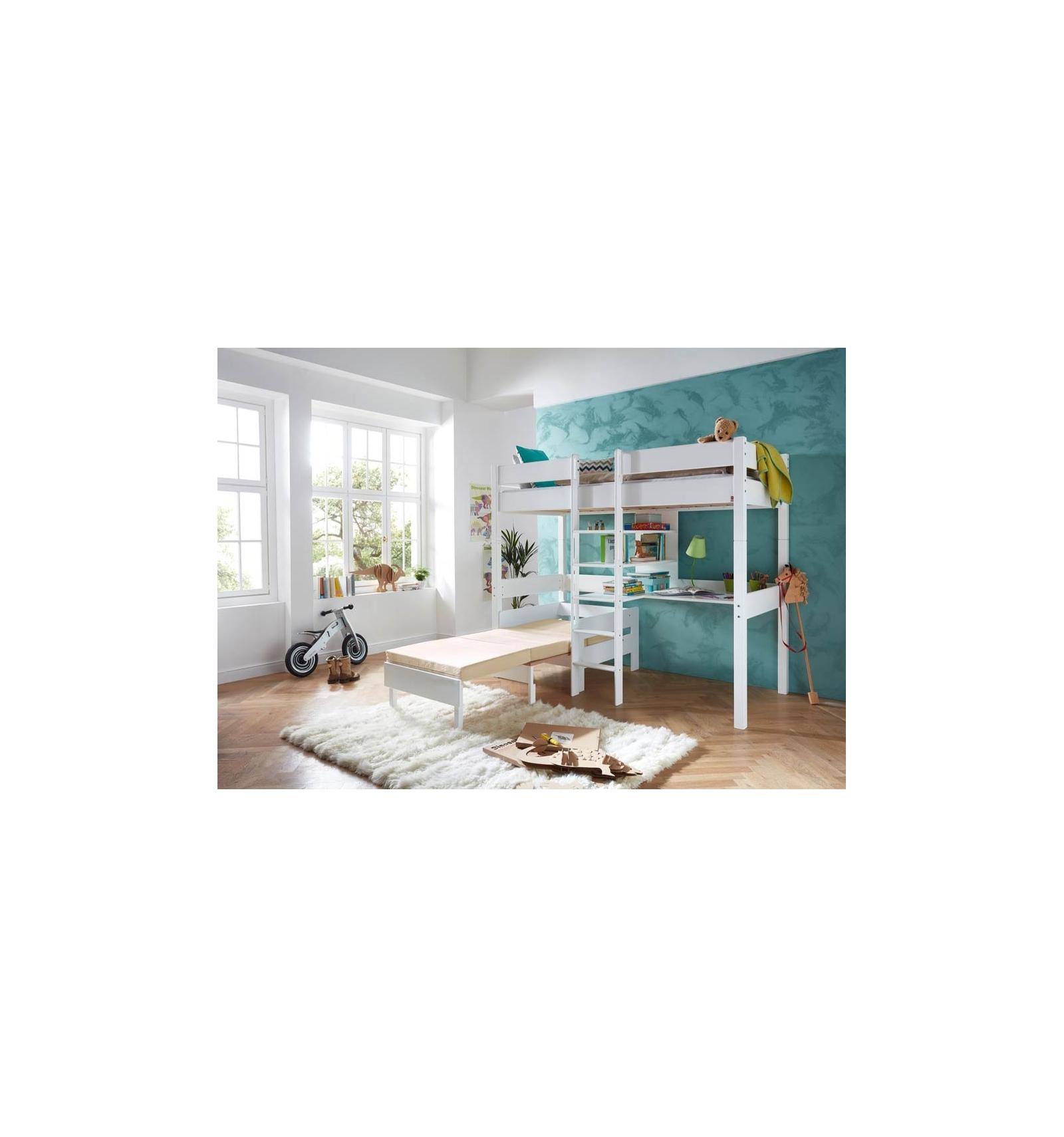 lit haut avec bureau. Black Bedroom Furniture Sets. Home Design Ideas