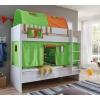 Lit superposé rideaux vert-orange