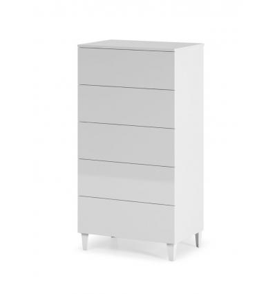 Guarda- roupa 5 gavetas branco brilhante