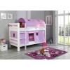 Beliches madeira cortinas lilás rosa