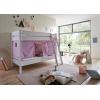 Stockbett aus holz Vorhang lila rosa