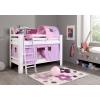 Lit en bois rideaux lila rose