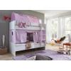Letto a castello legno tende viola rosa