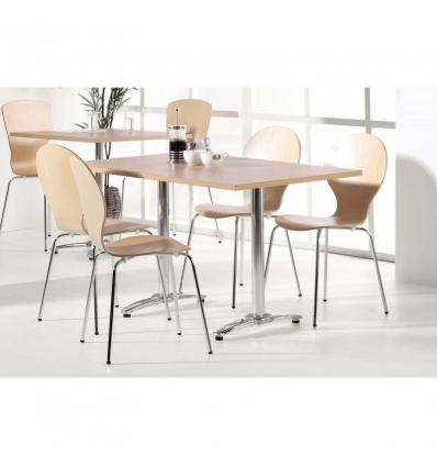 Table aluminium avec plateau Hêtre