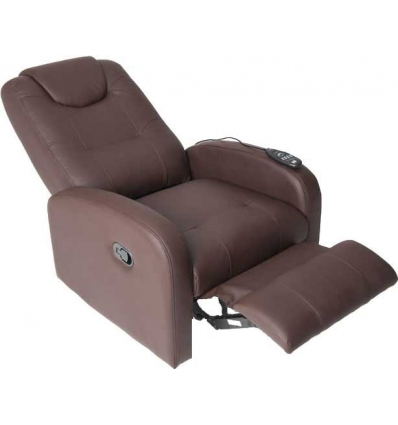 Fauteuil relaxation massant brun étiré